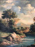 Continental Oil on Canvas Landscape in Contemporary Water Gilt Frame Circa 1800