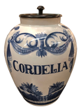 """Cordelia"" Blue and White Wood Cover Jar"