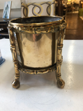 English Brass Jardinière in Faux Bamboo Stand
