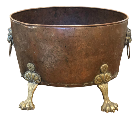 English Copper Bucket With Feet and Lion's Heads