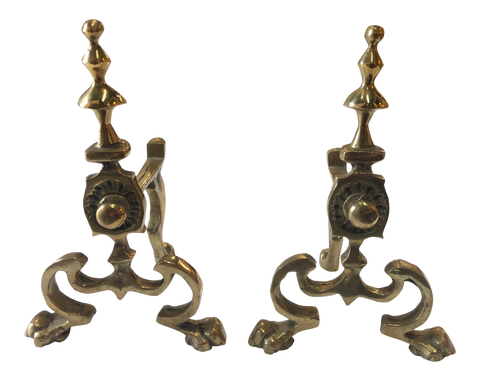 English Petite Brass Chenets - a Pair