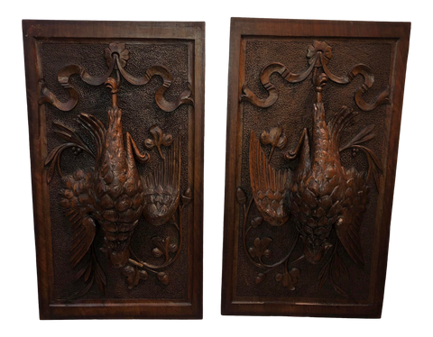 French Carved Fruit of the Hunt Panels - a Pair