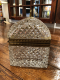 French Crystal Dome-Shaped Lidded Box With Brass Handle
