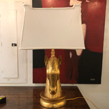 Gold Horse Head Lamp With Horse Head Finial