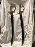 Late 19th Century Brass and Steel Swords With Leather Scabbard - a Pair