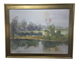 Muted Impressionistic Landscape, Oil on Canvas