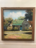 Original Signed Oil on Canvas, House With Green Tin Roof in Barn Wood Frame