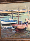 Painting of Boats by a Shore by French Listed and Exhibited Artist Maurice Tisseyre