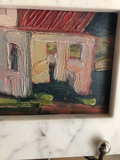 Painting of House Scene in Oil With Marble Frame on Stand