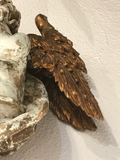 Pair of Early 18th Century Wood Carved and Gilded Wood Winged Angels, Spanish Colonial