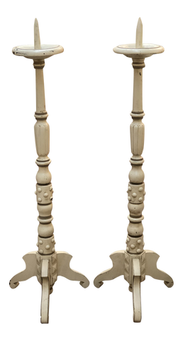 Pair of Large Painted French Candlesticks