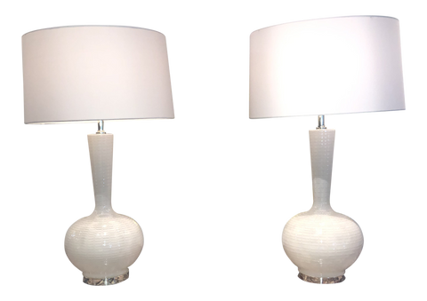 Pair of White Murano Lamps on Chrome Bases