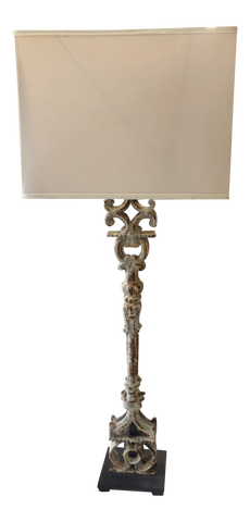 Patinated Iron Lamp With Rectangular Shade