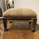 Small French Footstool With Nailhead Detail and Leopard Print