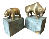 Solid Brass Bulls and Bears Bookends on Green Marble Bases, a Pair