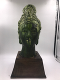 Vintage Chinese Glazed Terra-Cotta Head on Wood Base