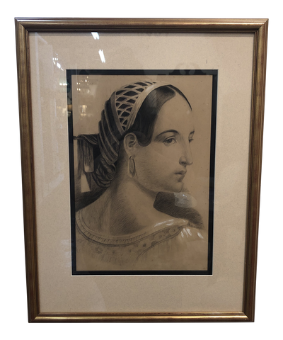 Vintage French Etching of a Woman