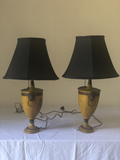 Yellow Tole Lamps With Black Shades- a Pair