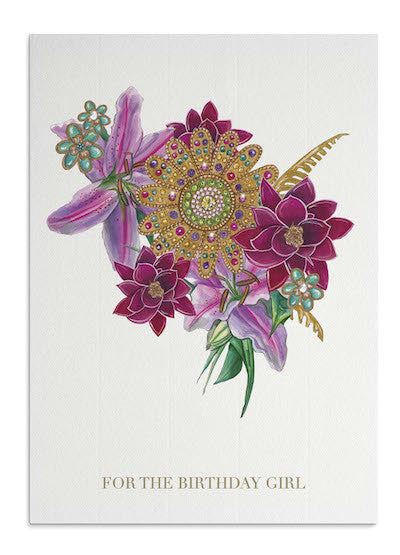 Tropical Bejewelled Bouquet card