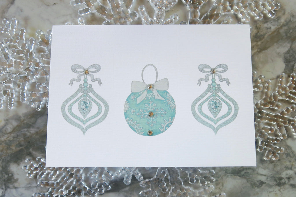 Christmas Diamonds Aquamarine baubles card