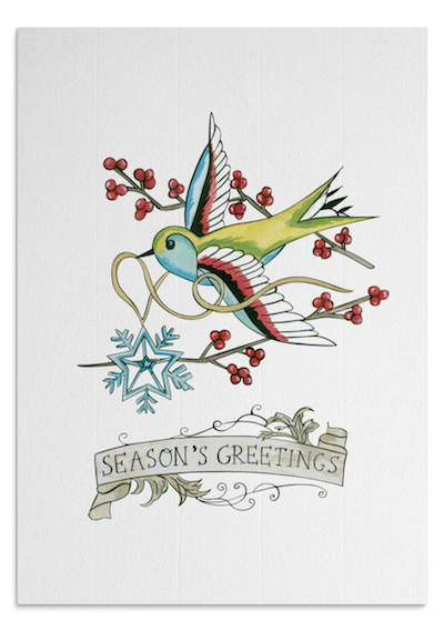 Christmas Swallow card