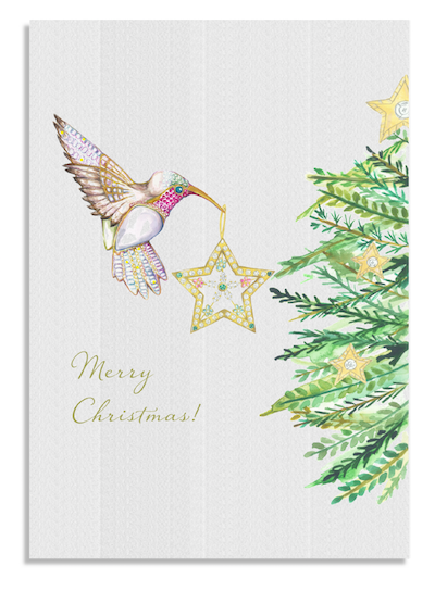 Christmas Hummingbird card