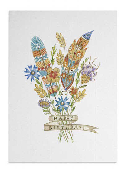 Flowers & Feathers card