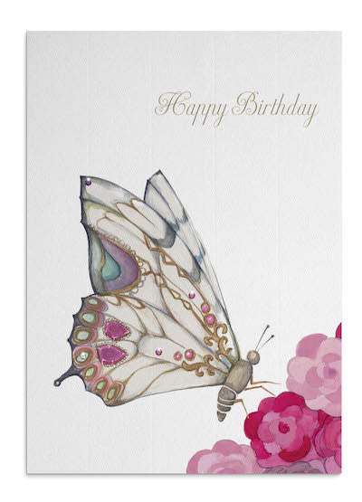 Butterfly & Pink Roses card