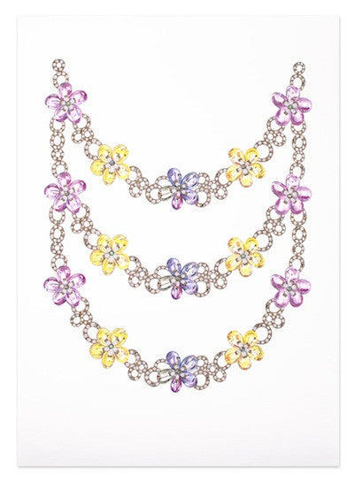 Multi-coloured flower necklaces print