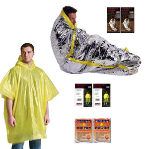Emergency Sleeping Bag & Poncho & Heat Packs