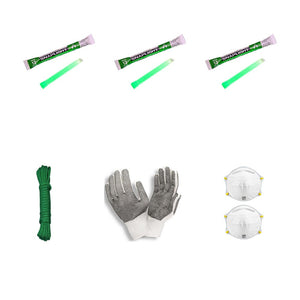 emergency light sticks paracord n95 masks work gloves