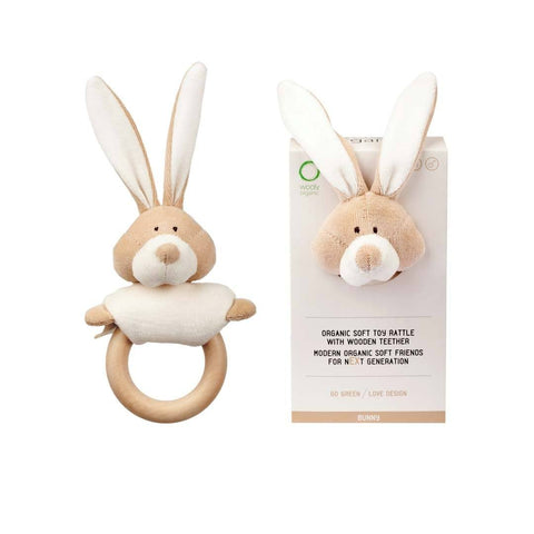 Organic Cotton Toy Rattle With Wooden Teether