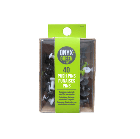 40 recycled plastic push pins - Onyx and Green