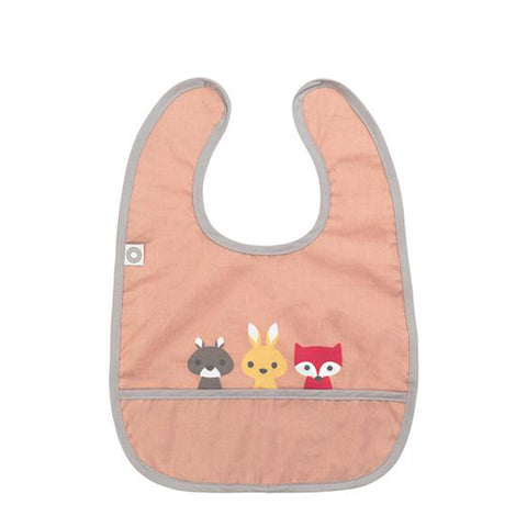 Organic Cotton Baby Bib - Animal Friends Rose