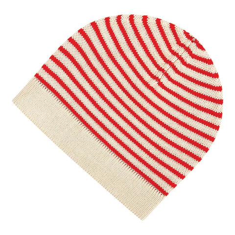 Children's Wool Hat ecru/red