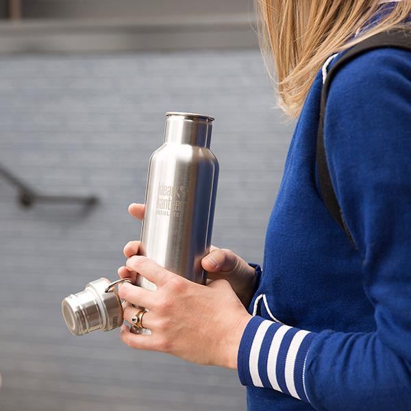 Stainless Steel Water Bottle With Bamboo Cap - Two Sizes