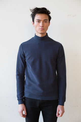 Organic Cotton Knitted Sweatshirt - Blue