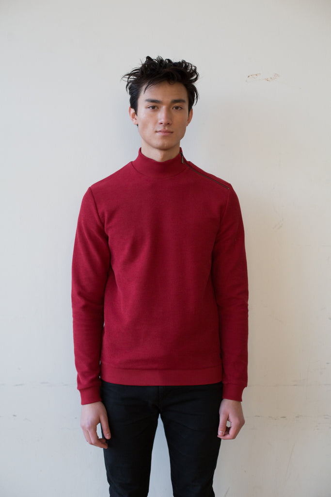 Organic Cotton Knitted Sweatshirt - Red