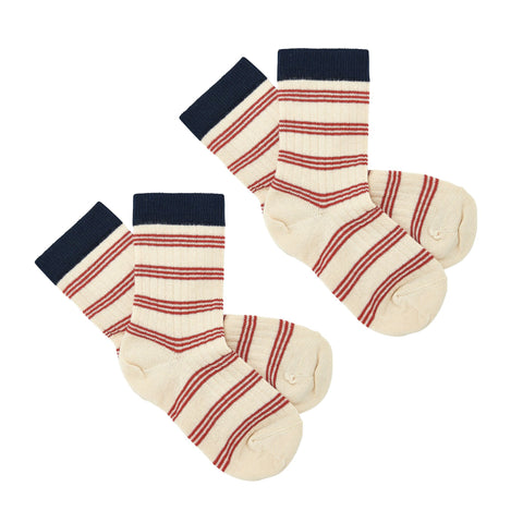 2-Pack Cotton Socks - Red Stripes