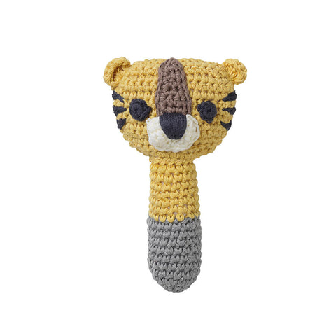 Organic cotton rattle in yellow tiger