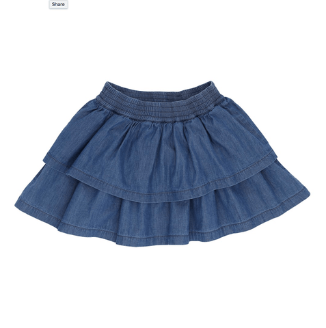 Scarlett light Denim Skirt In Organic Cotton - Loudly