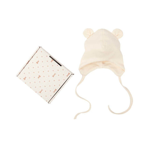 Baby Hat with Teddy Ears and Ties in Ecru Color