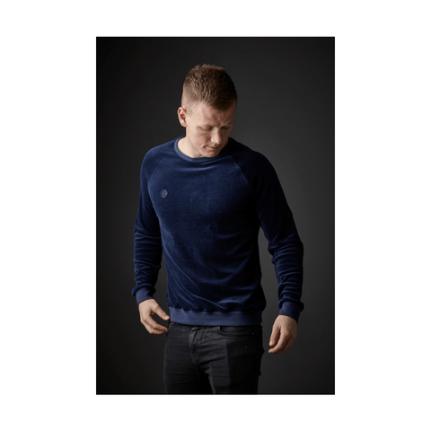 Organic cotton unisex sweatshirt in blue velvet - Amov