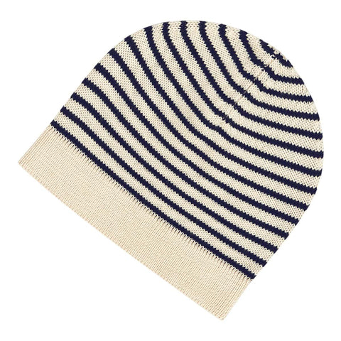 Children's Wool Hat, ecru/navy