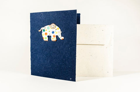 Dark blue greeting card made of elephants' poo