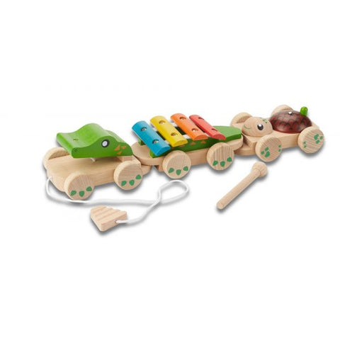 100% sustainable and natural material musical crocodile for kids