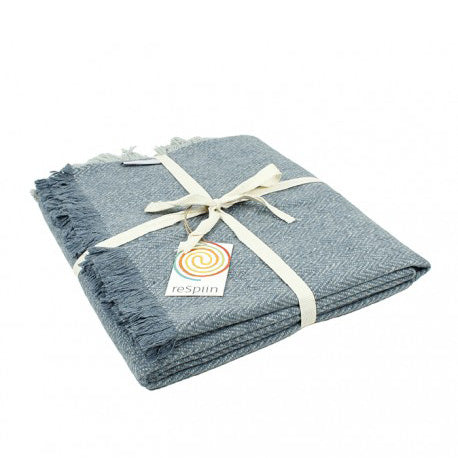 Recycled Wool Blanket - Denim Blue