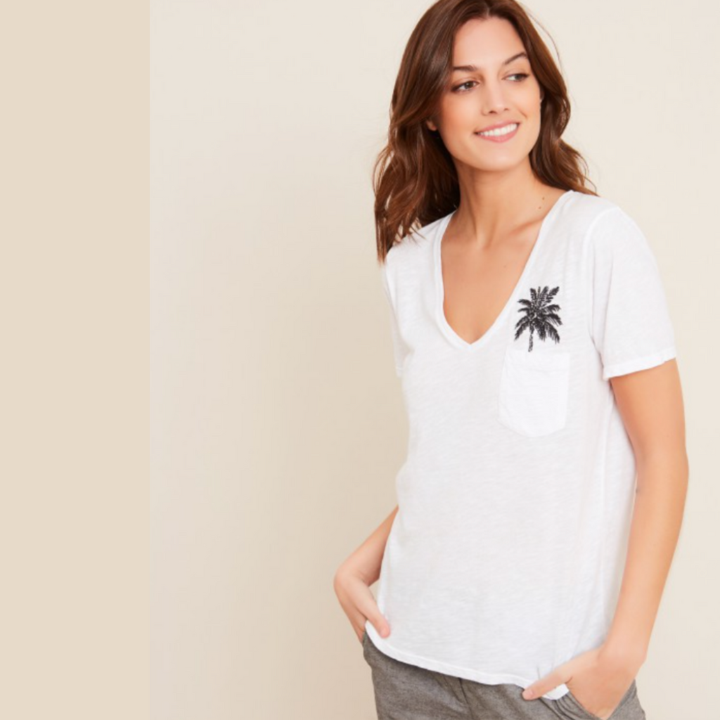 PALM TREE EMBRODIIDERED TEE-SHIRT