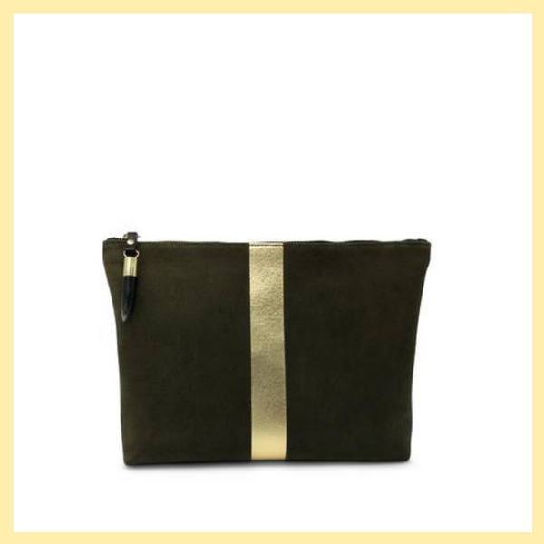 OLIVE SUEDE/GOLD STRIPE MEDIUM POUCH