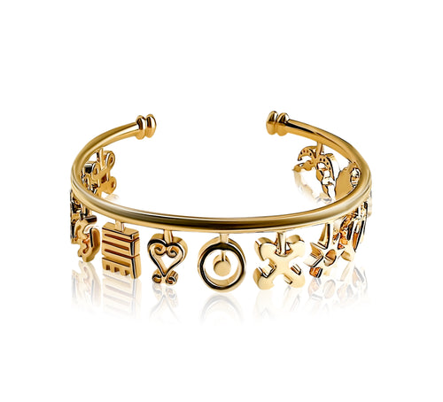 Nana Charm Bangle - Gold - Lonam Jewellery